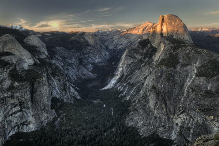 Half Dome Upper Yosemite Valley at sunset
