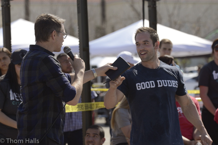Evangelist Andrew Palau, left, greets four time Crossfit Wolrdt Champion Rich Froning during the Crossfit demostration at the Save Mart Center.
